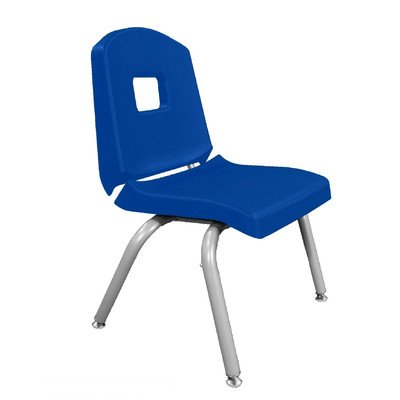 """Creative Colors 10Chrn-Bl-Bm Split-Bucket Chair, Self-Leveling Glides, 10"""" Height, Blue Seat And Back, Brushed Metal Frame front-1044348"""