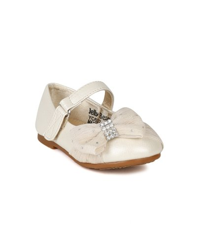 Jelly Beans Ah36-Limasa Leatherette Fabric Bow Rhinestone Mary Jane Dressy Ballerina Flat (Toddler) - Pearl (Size: Toddler 6)