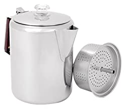GSI Outdoors Glacier Stainless Steel Percolator Coffee Pot with Silicone Handle by GSI OUTDOORS