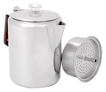 GSI Outdoors Glaicer Stainless Percolator with Silicone Handle, 12 Cup