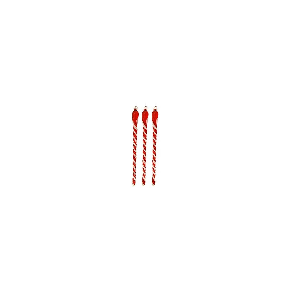 Set of 3 Red and White Glass Icicle Ornaments