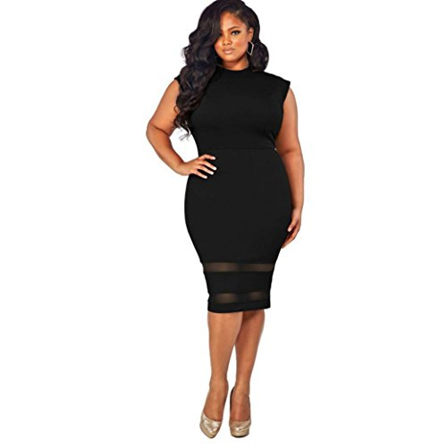 Anboo Women Plus Size Design Solid Sleeveless Gauze Splice Mini Dress (XXL, black)