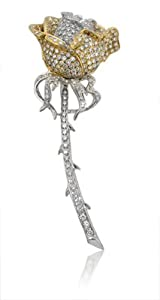 Diamond 18k White & Yellow Gold Antique Style Rose Brooch Pin(3.31ct)