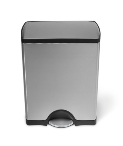 simplehuman 50L Rectangular Pedal Bin with Fingerprint-Proof Brushed Stainless Steel Finish