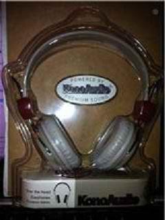 Konoaudio Over-The-Ear Retro Headphones (Gray W/ Dark Red Crosshair Target Design)