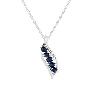 Sterling Silver 0.43ct Natural Blue Sapphire & Diamond Leaf Pendant on Chain