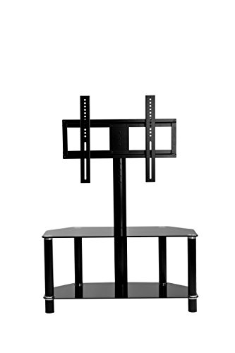 VECELO TV Entertainment Center, TV Stand with Mount and Glass Shelves for Storage , Fits 32, 36, 37, 40, 42, 47, 48, 49, 50, 55, 60 inch TVs (Tv Entertainment Center Mount compare prices)