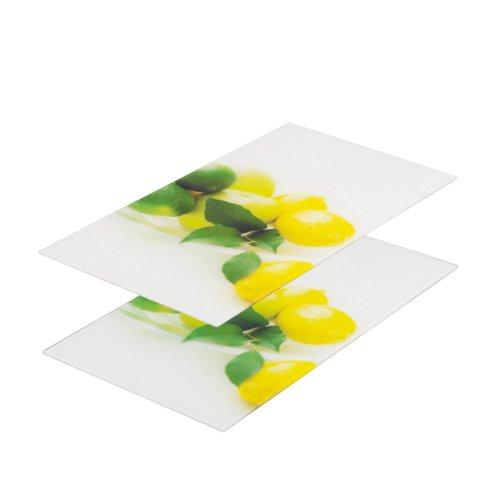 """Zeller 26271 Glasschneideplatten """"Zitrone"""", 2-er Set für Glaskeramikkochfeld 52 x 30 cm"""