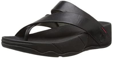 FitFlop Women's Sling Leather Flip Flop,All Black,5 M US
