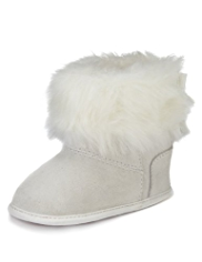 Mock Suede Faux Fur Pram Shoes