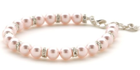 Infants Pink Pearl & Crystal Bracelet