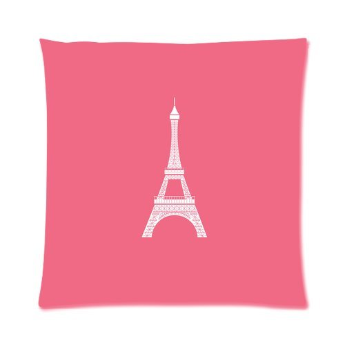"""Paris Landmark Eiffel Tower Pink Custom Zippered Pillow Cushion Case Throw Pillow Covers 16""""X16""""(Two Sides) front-1075744"""