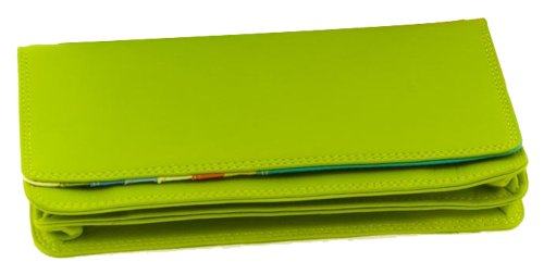 Mywalit 17cm Quality Leather Matinee Wallet Purse 237 (Bombay Lime Multi)