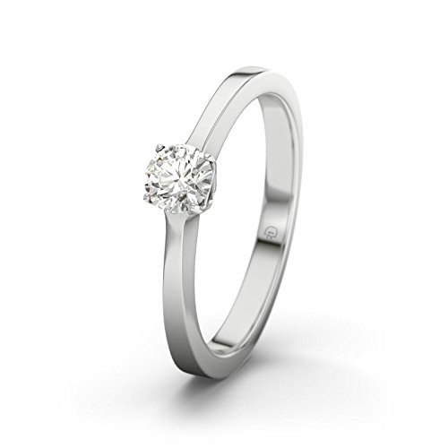 21DIAMONDS Women's Ring Riad SI1 0.25 ct Brilliant Cut Diamond Engagement Ring, 9ct White Gold Engagement Ring