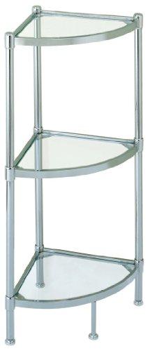 Corner Glass Shelves Stand Shelf 3 Tier Rack Chrome Home