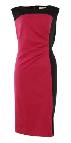 Women'S Colorblock Ruched Waist Career Dress (8, Begonia/Black)