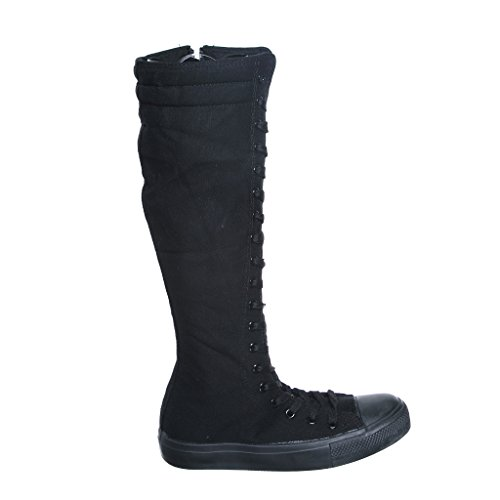 Canvas Sneakers Ladies Flat Tall Punk Womens Skate Shoes Lace up Knee High Boots (9, blackBE) [Apparel] (Knee High Shoes compare prices)