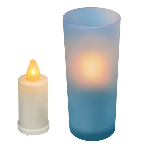 Inglow CG10060BL Flameless Frosted Glass 5-Inch Tall Holder with Votive Candle, Blue