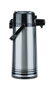 Update International PSVL-30-OR/SF Brushed Stainless Steel Body Decaf Airpot with Push-Button Top, 3-Liter