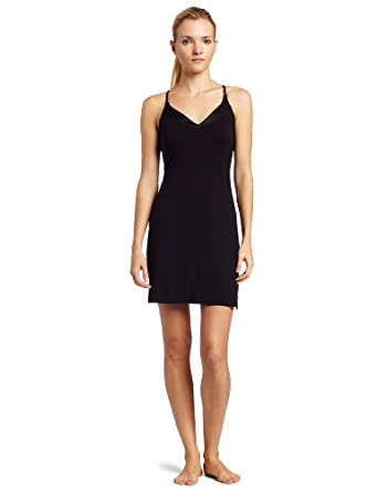Calvin Klein Women's Essentials  Satin  V-Neck   Chemise, Black, Small