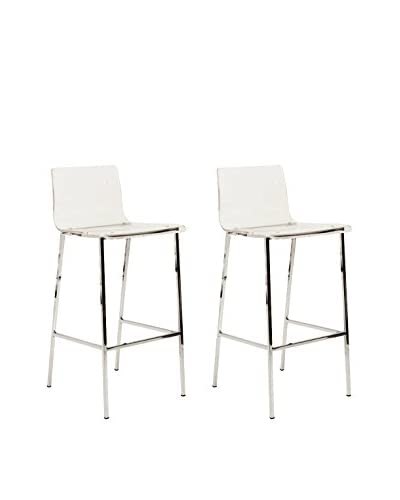 Fox Hill Trading Set of 2 Pure Décor Acrylic Bar Stools, Clear