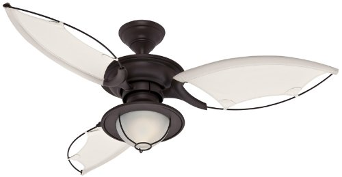 Hunter 25522 Sanibel One-Light  Three-Blade Ceiling Fan with Cloth Blades, New Bronze