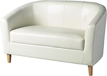 2 X LUXURY CREAM FAUX LEATHER TUB SOFAS, SMALL SIZE FOR SMALLER ROOMS FROM CENTURION PINE
