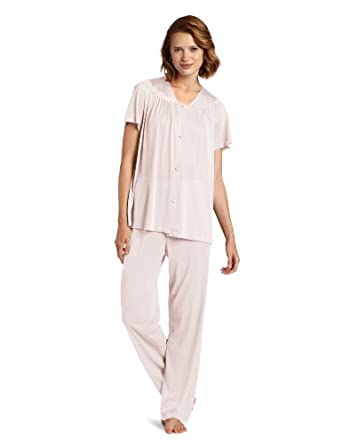 Vanity Fair Women's Colortura Short Sleeve Pajama Set,Pink Champagne,Small