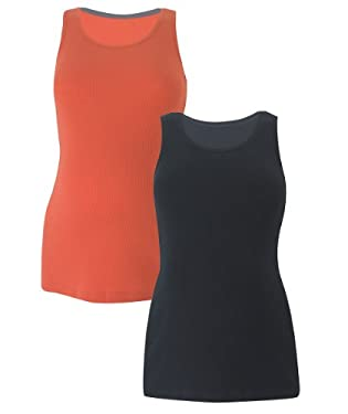 Maternity Vests - 2pk Black/Orange