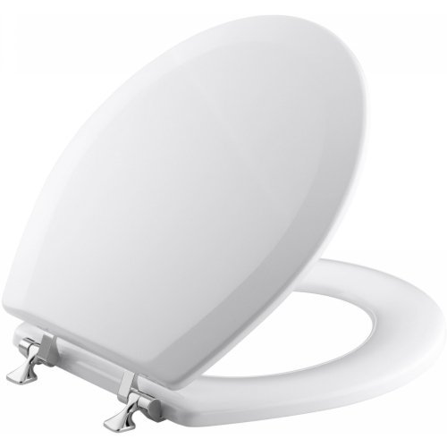 KOHLER K-4726-T-0 Triko Round-front Molded-Wood Toilet Seat with Polished Chrome Hinges, White (Toilet Seat Cover Chrome compare prices)