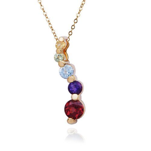18k Yellow Gold Plated Sterling Silver Multi-Gemstone Pendant Necklace , 18