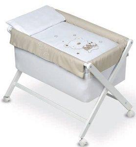 Pirulos 28230020–Minicuna pieghevole forbici bianca, motivo orsetto Star, 68x 90X71cm, colore: bianco e lino
