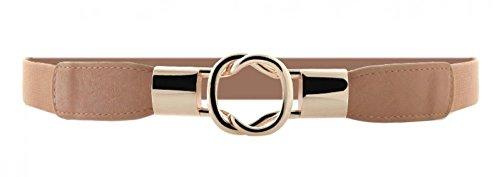 Women Metal Fashion Skinny Leather Belt Gold Elastic Buckle belt solid color (Skinny Stretch Belt compare prices)