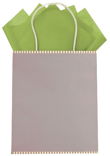 The Gift Wrap Company Pack Of 12 Kraft Paper Gift Bag Totes, Epoque Platinum front-555364