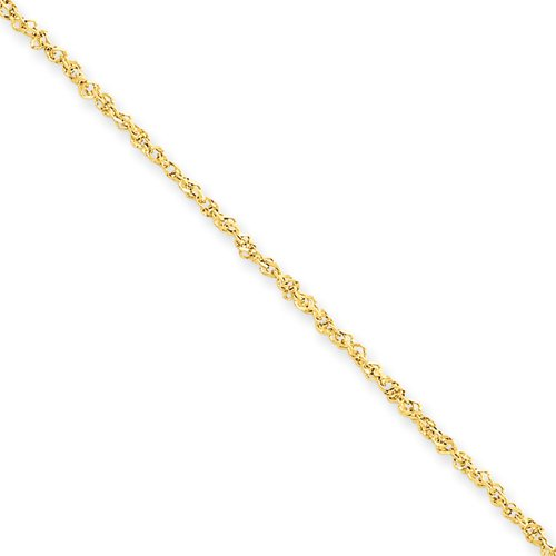 9 Inch 14k Gold 1.7mm Ropa Anklet Real Goldia