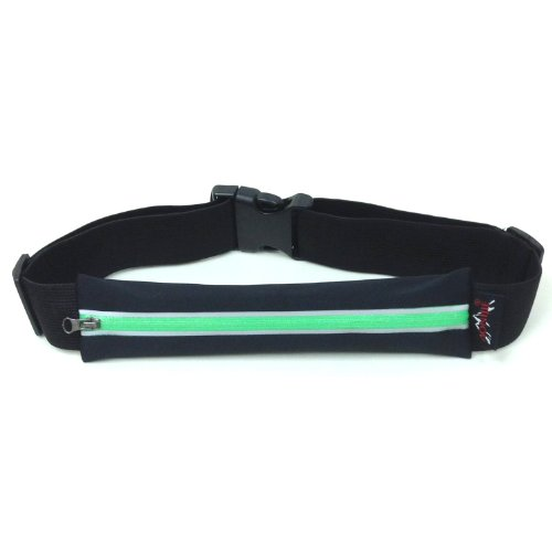 Exercise Runners Belt 22cm with Reflective Stripes - Black Green