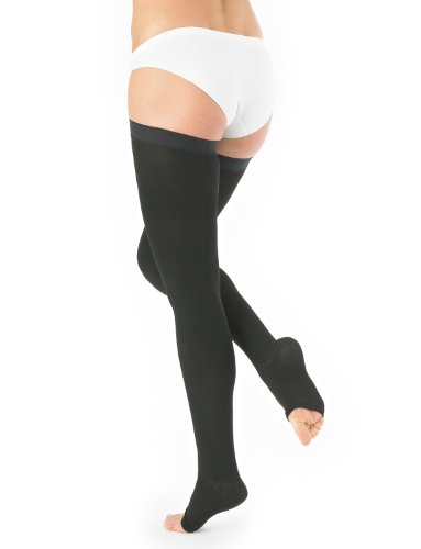 Neo g medical grade compression hosiery open toe thigh high stockings