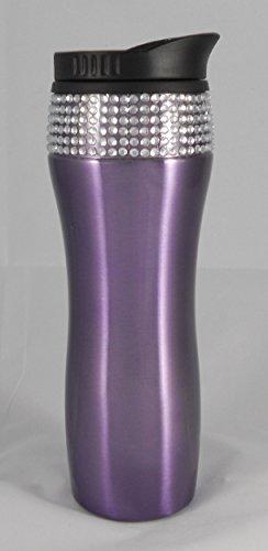 Stainless Steel 14Oz Bling Rhinestone Travel Mug (Purple)