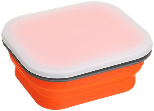 Lexington SNABXM-ORG-021C Medium Silicone Collapsible Snack Box - Orange - 1
