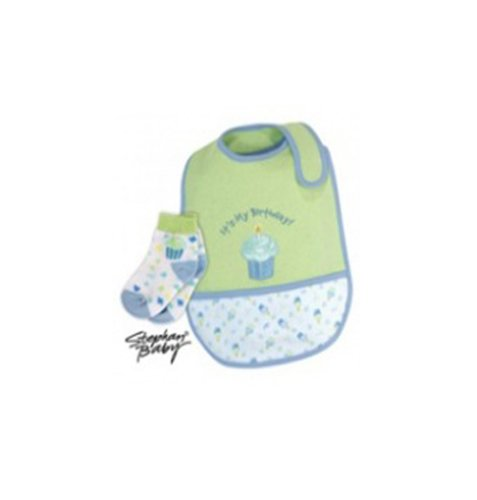 """It's My Birthday!""Bib and Sock Set-Green with Blue"