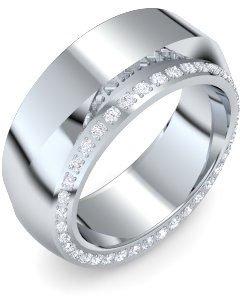 Die Faszination in der Form! Weißgoldring Diamantring Bandring Damen 14 Karat (585) Weißgold 38 Brillant 0.38 Ct. EF Amoonic Zones Ring Gr. 64 (20.4)