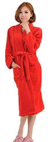 BIFINI-Womens-rouge-doux-en-peluche-chaud-flanelle-microfibres-Fleece-longue-Robe-Spa-Peignoir
