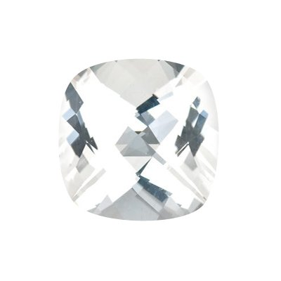 5.05 Cts of 10x10 mm AA Cushion Checker Board White Topaz ( 1 pc ) Loose Gemstone