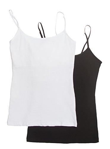 Cami Camisole Built in Shelf BRA Adjustable Spaghetti Strap Tank Top,Large,2 Pk Black & White