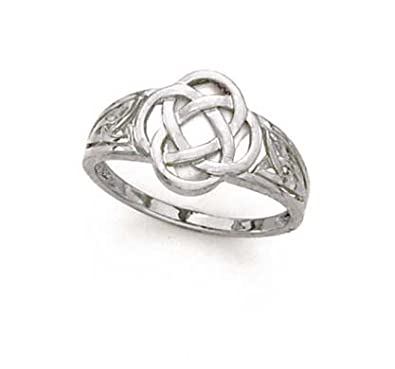 14ct White Gold Celtic Knot Ring - Size N 1/2