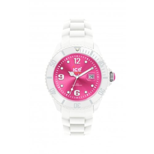 Ice Watch - SI.WP.S.S.10 - Montre Femme - Quartz Analogique - Cadran Rose - Bracelet Silicone Blanc - Petit Modèle