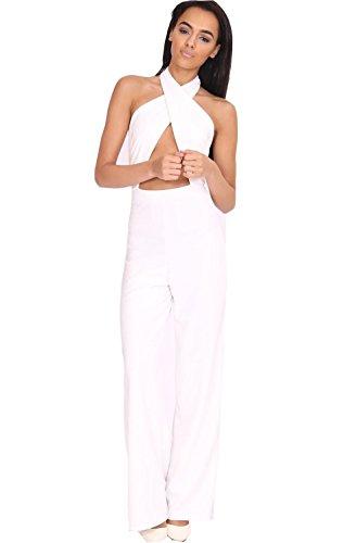 Nuovo donna Cut Out foro chiave tuta costume Tutina Palazzo Bianco Nudo, colore: nero Cream 40