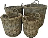 Very Strong, Wicker Ratten Round Storage / Log Basket - Extra Large