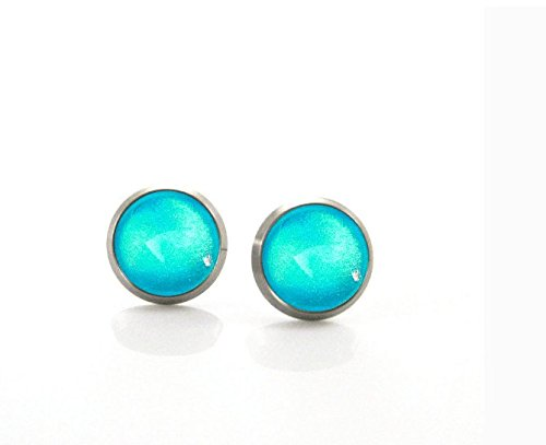 Turquoise deep sea | Hypoallergenic Titanium Earring Stud | Hand painted Nickel Free Earrings | Aqua bright and Metallic Glitter (Pure Amethyst Crystal compare prices)