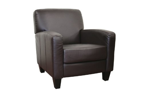 stacie brown leather modern club chair